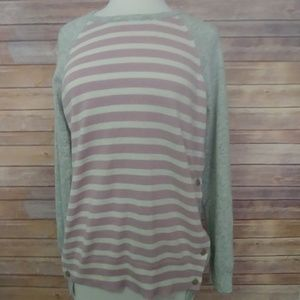 J Crew pull over stripe sweater button up sides